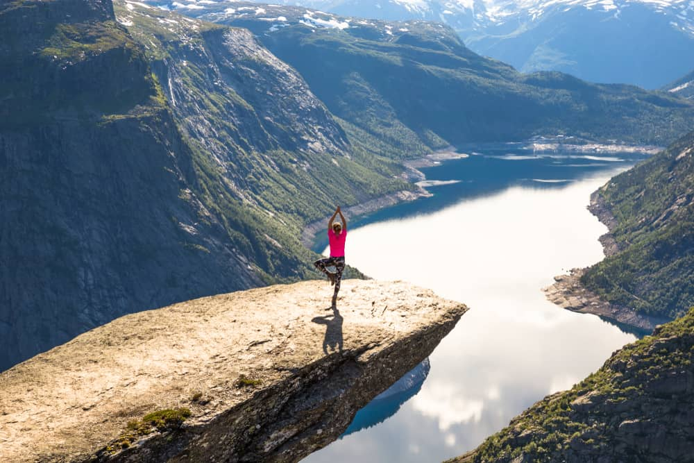 Instagrammer on Trolltunga cliff in Norway